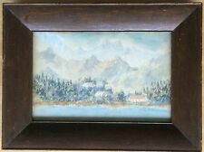 Antique Alps Mountains & Lake Landscape Watercolor on Panel - Frame 10x13