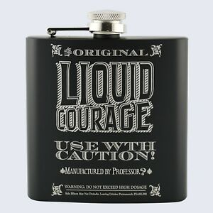 LIQUID Courage Design, Great For Stag Do Party, 6oz Drinks Beverage Hip Flask