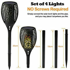 Solar Dancing Flame LED Torch Stake Flickering Outdoor Garden Lights  Set of 4