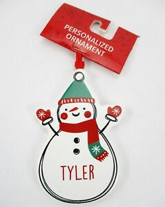 "TYLER Personalized Name Holiday Ornament Snowman Xmas Target Ganz 3.5"" Ceramic"