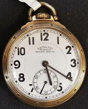 HAMILTON POCKET WATCH 23 JEWEL RAILWAY SPECIAL 10K GOLD FILLED