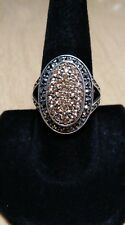 Sterling Silver HSN Designer A Peach Citrine & Marcasite Ring Size 10 *579*