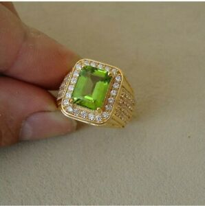 Natural Peridot Gemstone with Gold Plated 925 Sterling Silver Ring for Men's