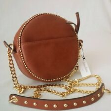 *BRAND NEW WITH TAG* NEIMAN MARCUS CHAINS STUDS ROUND SMALL SHOULDER BAG - BROWN