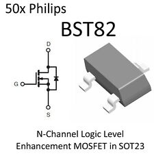 50x BST82 General Purpose N Channel FET SOT23 New On Tape Philips NFET MOSFET