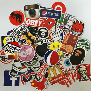 100PCS Mix Tide Brand LOGO Vinyl Stickers Bomb Skateboard Luggage Graffiti Decal
