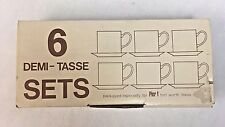 6 Vintage Demi-Tasse Demitasse Sets Pier 1 Solid White NEW in Box MIP MIB NOS