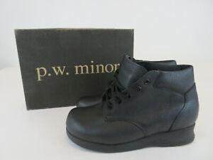 P.W. Minor SANTA FE Womens Size 6.5 B Black Calfskin Comfort Orthopedic Boots
