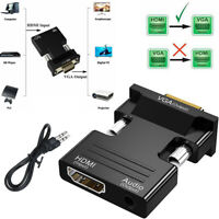 HDMI to VGA /HDMI Female to VGA Male Converter Adapter with Audio Cable 1080P US