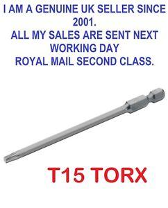 "1/4"" Hex Shank 100mm Long T15 Magnetic Torx Security Screwdriver Bit"