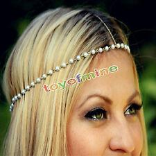 Bohemian Forehead Women Metal Pearl Head Chain Jewelry Headband Piece Hair band