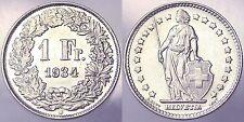 1 FRANCO FRANC 1934 B SVIZZERA HELVETIA SWITZERLAND Spl/XF ARGENTO SILVER #2910