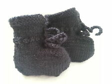 Baby Booties 0 to 3 Months Boy Knitted Bootees Handmade unisex Goth handmade