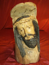 "Vintage Jesus Christ Wooden Hand Carved Thorns Crucifixion Head Bust 15"" x 8"""