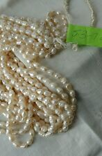Vintage Freshwater Rice Pearls Ivory 5.3+/-mm x 7.2=/-mm 1 strand New Old Stock
