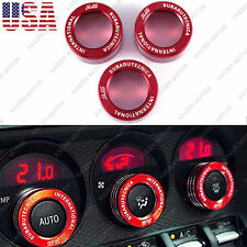 3x Red Metal AC Climate Control Volume Knob Ring Covers for Subaru BRZ 2013+ NEW