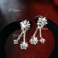18K YELLOW WHITE GOLD 925 SILVER MADE WITH SWAROVSKI CRYSTAL STAR EARRINGS STUD