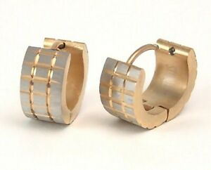 Huggie Hoop Earrings Gold PVD Hypoallergenic Surgical Steel 1/2 inch NEW