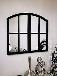 72x65CM WINDOW STYLE MIRROR LIVING ROOM DECOR HALLWAY GARDEN WALL GLASS (BLACK)