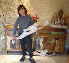 Meerjungfrau Albesia Holz Dekoration Tropical fAntik Look Statue Skulptur Deco