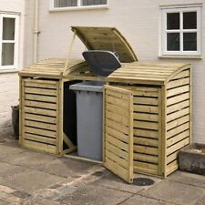 7ft x 2ft ROWLINSON WOODEN TRIPLE BIN STORE OUTDOOR STORE WITH LIDS & DOORS NEW