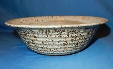 """White Brown 10.25"""" Handthrown Stoneware Pottery Serving Bowl Dish Signed"""