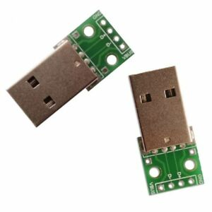 2 x USB Type A Male Plug Breakout Board 2.54mm Pitch Adapter Connector DIP