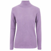 WOMEN LADIES HIGH ROLL POLO NECK KNITTED RIBBED JUMPER SWEATER TOP UK SIZE 8-16