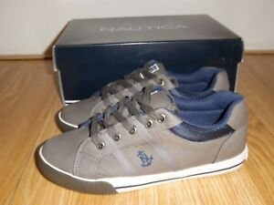 NEW in box Nautica Outpoint Youth Boy's Size 3 4 M Grey Shoes Sneakers