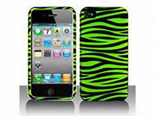 For Apple iPhone 4 4S Rubberized HARD Protector Case Phone Cover Green Zebra