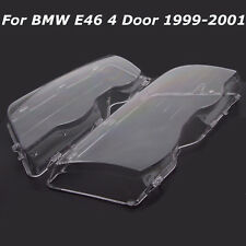 Paire Glace Phare Couverture Headlight Lens Cover Pr BMW E46 3 Series 4D Wagon