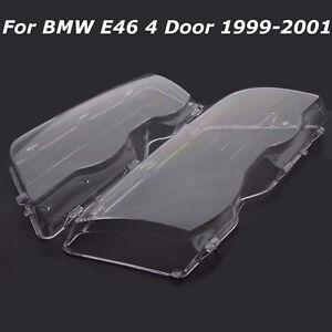 Paire Glace Phare Couverture Headlight Lens Cover Pour BMW E46 3 Series 4D Wagon