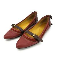 Ted Baker Ballet Leather Flats Womens 6 Buckles Maroon Brown