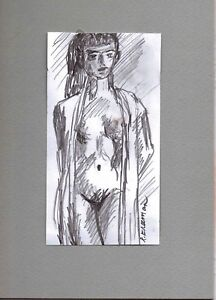 STANDING by RUTH FREEMAN PENCIL/GRAPHITE 5 X 7 MOUNTED ON MAT BOARD