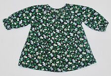 Nordstrom Baby LS Blue Green Floral Ruffled Navy Blue Corduroy Dress, 3 mos.