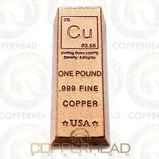 1 Pound lb (16 oz) Trapezoid Copper Bullion Bar Element Design .999 Fine