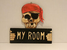 "Wooden Skull Pirate ""my Room"" Doorsign Seaside Beach Nautical"