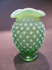 Vintage Fenton Art Glass Hobnail Green Opalescent Vase