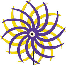 Handcrafted Kinetic Metal Yard Art Double Motion Spinner Purp/Yellow Made in USA