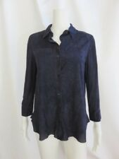 BROGDEN Navy Leather Long-Sleeve Button Down Top/Blouse with Pockets Size S