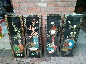 """4 x Chinese Lacquer Wall Hanging Pictures 36""""x12"""""""