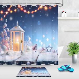 """Christmas Lantern Snowy Rustic Wood Boards Shower Curtain Set Bathroom Decor 72"""""""