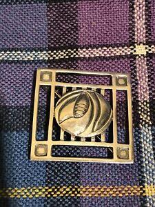 Sterling Silver Rennie Mackintosh Square Glasgow Rose Brooch