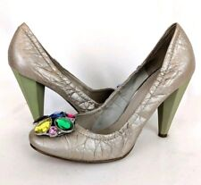 NINE WEST Womens Gold Leather Jeweled Erland Round Toe Pumps w Green Heels - 7.5