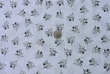 100% Cotton Fabric- Black on White Little Girl Playing With Puppy - by the Yard