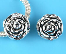 2pcs silver rose flower Charm Spacer beads fit European Bracelet Chain A#14