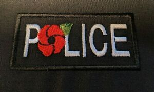 ONE EMBROIDERED POLICE AND POPPY PATCH SMALL 60MM X 30MM AS SHOWN