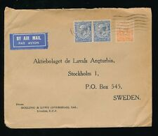 GB 1934 AIRMAIL to SWEDEN...BIRD PERFINS...BOLLING + LOWE ENVELOPE 7d FRANKING