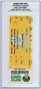 2002 Kobe Bryant vs Gary Payton HOF SUPER SONICS vs LAKERS 2/14 Full Ticket RARE
