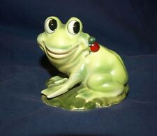 Vtg. Collectible *Joseph Originals* Green Ceramic Frog Lily Pad/Red Lady Bug